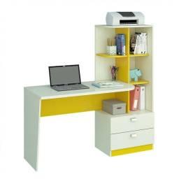 Escrivaninha com estante amarelo e branco usada