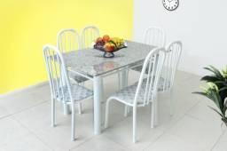 Conjunto mesa em granito + 6 cadeiras aço Promoção = Entrega grátis!!