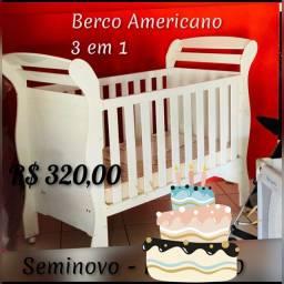 Berco Americano Seminovo - 3 em 1 Crianca, bebe