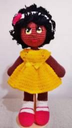 Boneca Amigurumi em crochê Negrinha, em crochê amigurumi