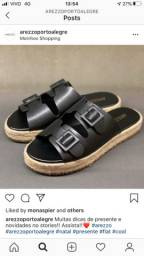 Vendo rasteira sandália arezzo 35 couro preto