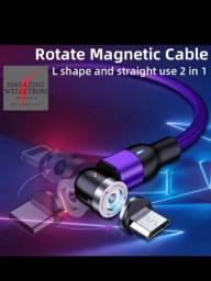 Cabo Magnético Leve Iluminação 360°+180° Rotação - 3em1 - Cabo P/ Smartphone Android/IOS