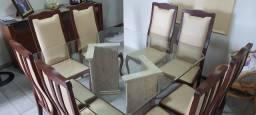 Conjunto mesa e 08 cadeiras