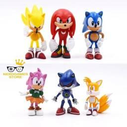 Kit de Bonecos turma do Sonic 6 personagens brinquedo criança