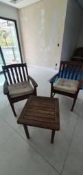 Conjunto Cadeiras e Mesa Madeira Carvalho