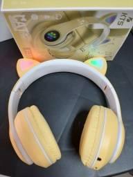 Fone Bluetooth gatinha Cor: preto, amarelo, rosa