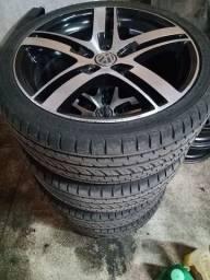 Título do anúncio: Rodas aro 17 com pneus novos 5 x 100