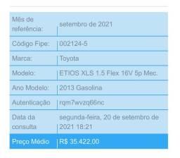 Título do anúncio: Vendo Toyota Etios 2013