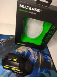 Mouse gamer multilaser com led 2400dpi novo na caixa