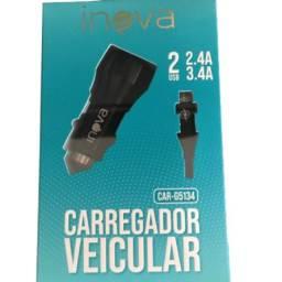 Carregador Veicular Celular Duas Entrada Usb V8 Android