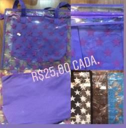 Bolsa de Ombro, material em plastico com ziper - nova - diversas cores
