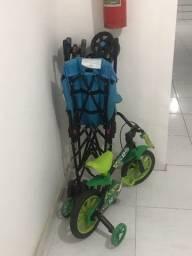 Cadeirinha, bicicleta e carrinho