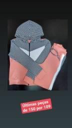 Conjunto Malha Crepe Calça E Blusa Xadrez Feminina Linda