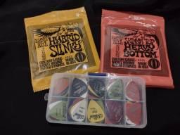 2 kit de cordas Ernie Ball + Box 50 palhetas