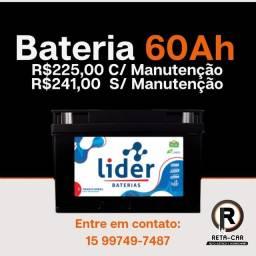 Título do anúncio: Bateria Líder 60 amperes \|/ Sorocaba e Votorantim
