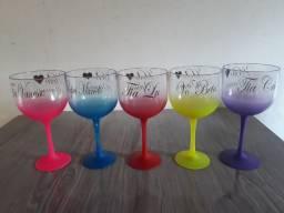 10 Taças Gin Degradê Personalizada com Nome