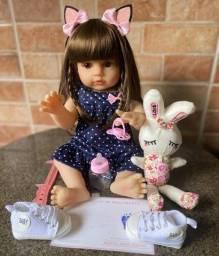 Boneca bebê Reborn toda em Silicone Cabelão realista Nova Original (aceito cartão)