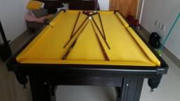 Mesa Semi oficial Cor Preta MDF Tecido Amarelo Tx Mod. OFRU4965