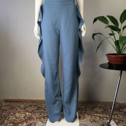Calça Crepe Babados Social Nova Mayara Sansana Grife Luxo 42 azul claro
