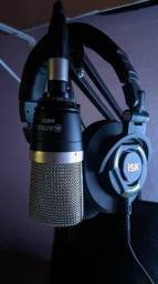 Kit microfone condensador e fone profissional