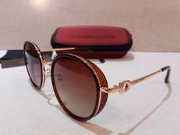Óculos de Sol Marrom degradê Armação dourada Vanessa Calafiori