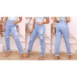 Calças jeans cintura alta feminina atacado