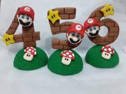 Vela temática em biscuit Super Mario
