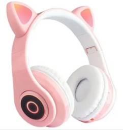 Fone de ouvido orelha de gato com led e Bluethooh