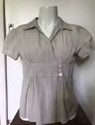 Blusa P cinza com botões manga curta