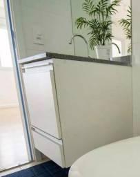 Título do anúncio: Bancada + Cuba + Gabinete banheiro branco NOVO