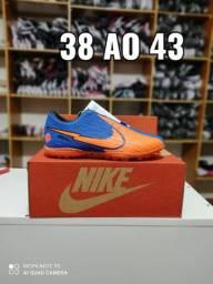 Chuteira Nike Society Azul Laranja