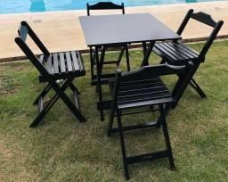 Cadeira Dobrável Preto/Tabaco (SOMENTE AS CADEIRAS)