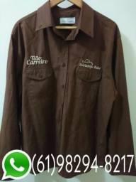 Camisa Social Masculina Tião Carreiro Manga Longa - Marrom, usado comprar usado  Brasília