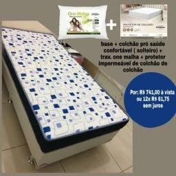 Base + colchão prosaude confortável ( travesseiro e protetor brinde)
