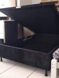 Box Baú Casal em Madeira e Suede Novo