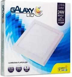 Luz Plafon Led Galaxy Shine Quadrado 24W 3000K 30x30 Bivolt Novo Lacrado