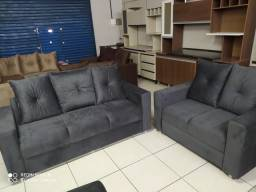 Sofá de 2 e 3 lugares no suede - Novo
