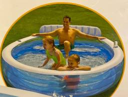 Piscina inflável redonda long pool intex 640litros