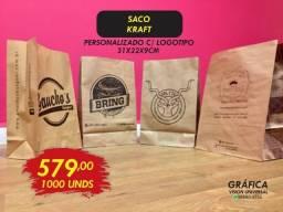 1000 Sacos Kraft Personalizados 1 cor 579,00 Pizzarias Hambúrgueria Panfletos