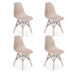 Cadeiras Charles Eames Eiffel Wood Base Madeira - Nude
