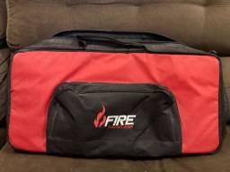 Bag + Pedal board 60 com base para fixação dos pedais Fire * Brinde 8 cabos pequenos