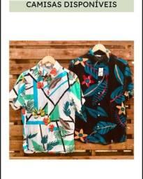 Título do anúncio: Camisas estampadas de botão floridas