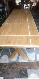 Mesa x de madeira com 2 banco