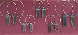 brincos argolas de quartzo fumê