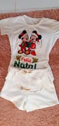 Conjunto de short e blusa natal mickey