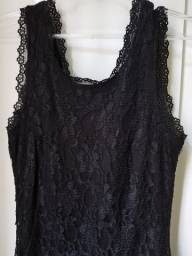 Vestido de renda preto, tamanho M, Chifon.