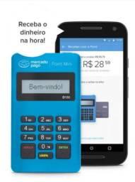 Maquininha Mercado Pago sem chip, conexão via bluetooth com o celular