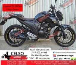 Título do anúncio: Fazer 250 2020 ABS 22.000km Financio 48x Cartão 24x aceito sua moto