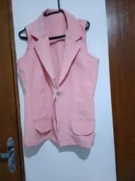 Colete cor de rosa em tecido