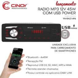 Som Automotivo Mp3 Bluetooth Usb SD Viva Voz c/ Carregador Celular Radio